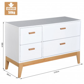Buffet Commode Style Scandinave Pieds Bois Massif 4 Tiroirs MDF Blanc