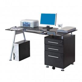 Bureau informatique design avec plateau en verre et tiroirs - noir