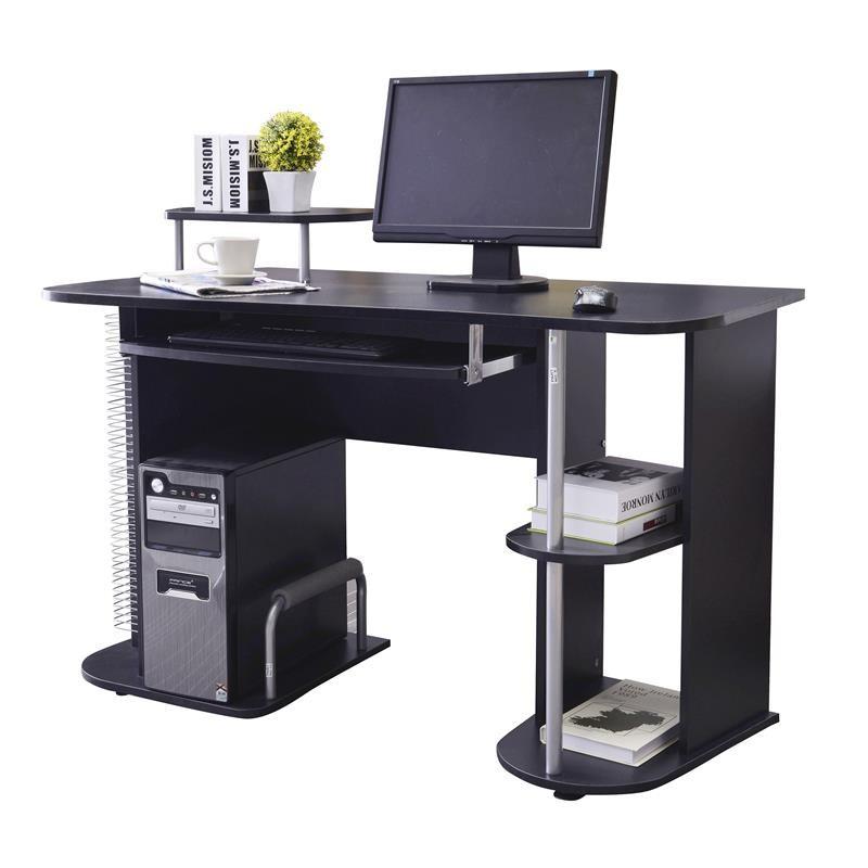 bureau informatique avec tag res et tablette coulissante noir. Black Bedroom Furniture Sets. Home Design Ideas