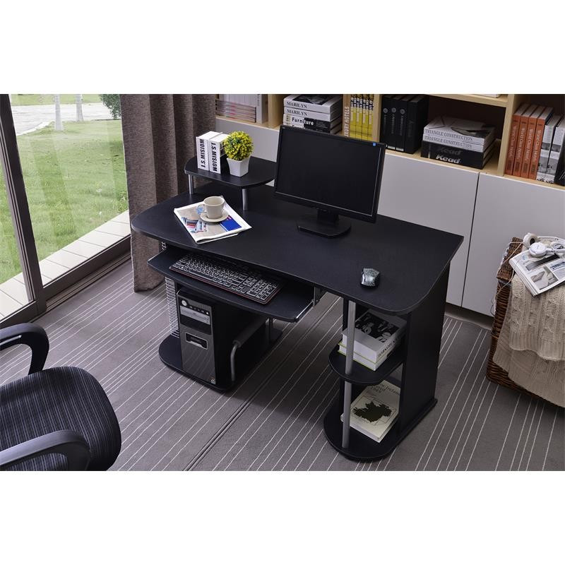 bureau informatique avec tag res et tablette coulissante noir. Black Bedroom Furniture Sets. Home Design Ideas