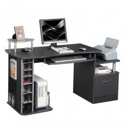Bureau informatique Kong avec étagères CD et PC - couleur noir