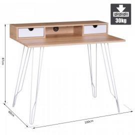 Bureau scandinave table d'ordinateur suedo design bois acier blanc