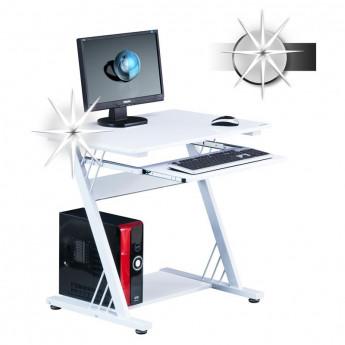 Bureau informatique Firo avec tablette coulissante - blanc brillant