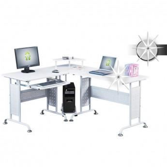 Bureau informatique d'angle - blanc brillant