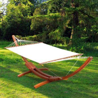 Hamac de Jardin France Blanc avec Support en Bois