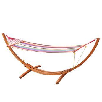 Hamac Cancùn multicolore avec support en bois pour le jardin