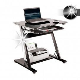 Bureau informatique en verre noir brillant