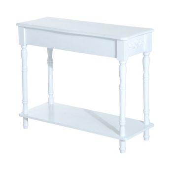 Table Console Néo-Rétro Multi-Rangement Blanc