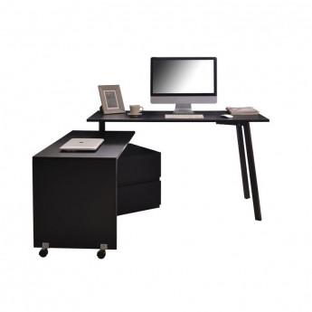 Bureau informatique noir 2-en-1 avec partie coulissante