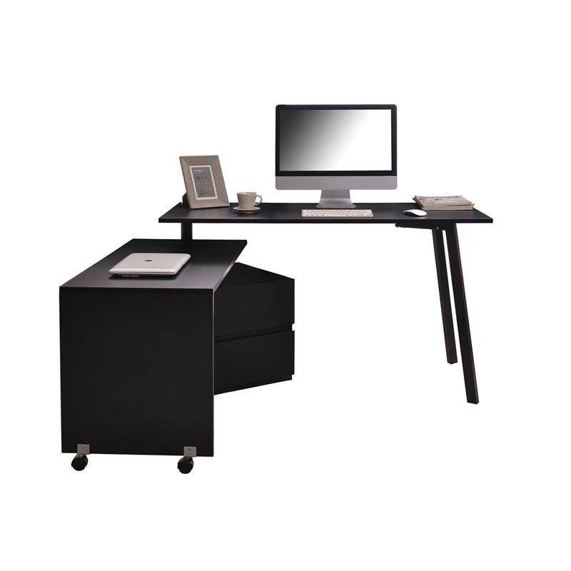 bureau informatique noir 2 en 1 avec partie coulissante. Black Bedroom Furniture Sets. Home Design Ideas