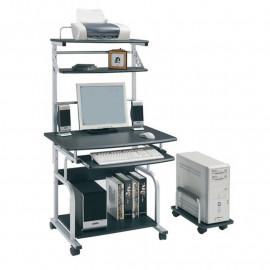 Bureau Informatique Roulant - gris-noir