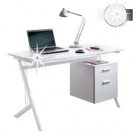 Bureau informatique Lopa avec tiroirs de rangement - blanc brillant