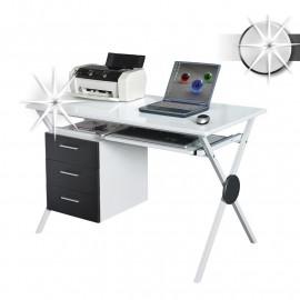 Bureau informatique Gola avec tiroirs de rangement - blanc brillant