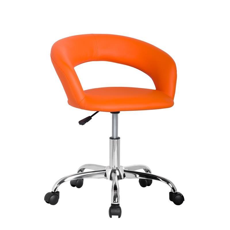 Tabouret roulettes hector orange - Tabouret a roulettes de bureau ...