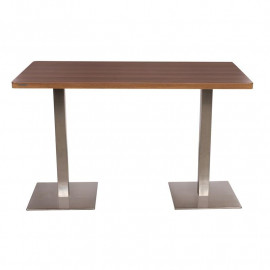 Table de Bar - Table Bistro en MDF aspect du bois de noyer 120x60x75