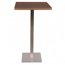 Table de bar - Table Bistrot en MDF aspect bois de noyer 60x60x105