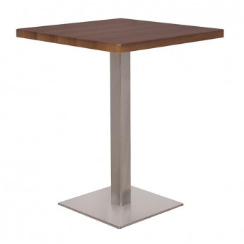 Table de bar - Table Bistrot en MDF aspect bois de noyer 60x60x75
