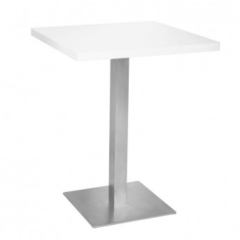 Table de bar - Table Bistrot en MDF blanc 60x60x75