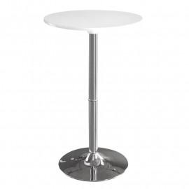 Table haute de bar chromée blanche