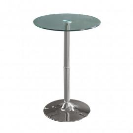 Table haute de bar chromée en verre
