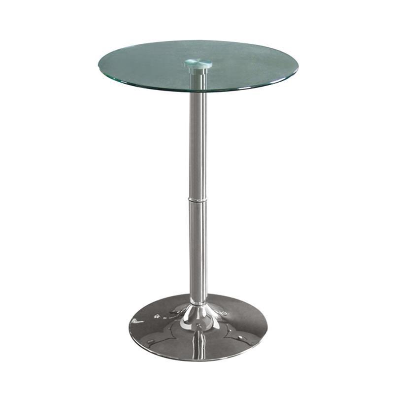 table haute de bar chrom e en verre. Black Bedroom Furniture Sets. Home Design Ideas