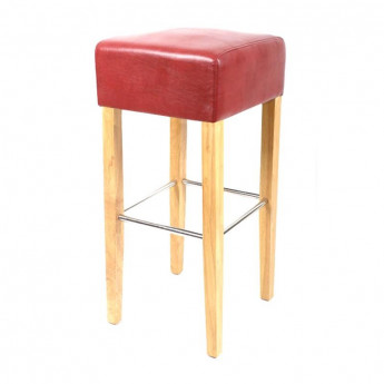Tabouret de bar Elegancia bois de hêtre massif rouge