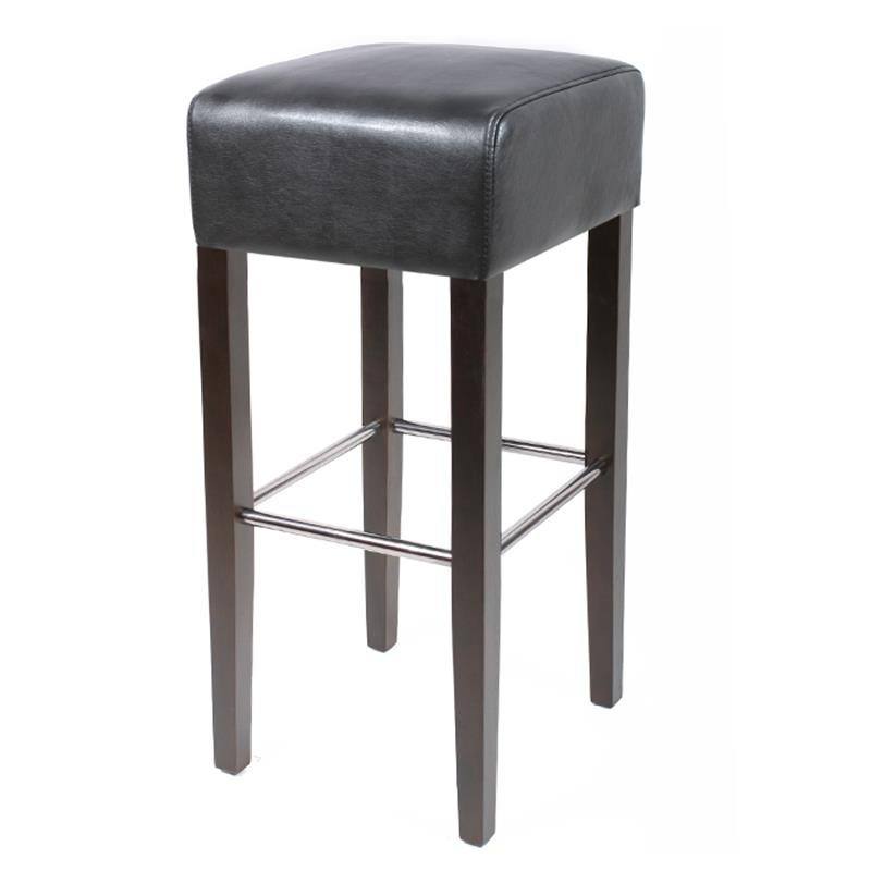 tabouret de bar elegancia bois de h tre massif weng et noir. Black Bedroom Furniture Sets. Home Design Ideas