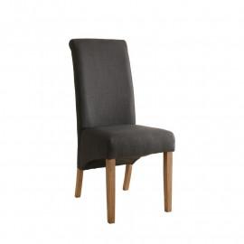 Chaise Cali bois de hêtre massif rembourrée anthracite/noir