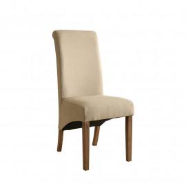 Chaise Cali bois de hêtre massif rembourrée beige