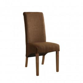Chaise Cali bois de hêtre massif rembourrée marron