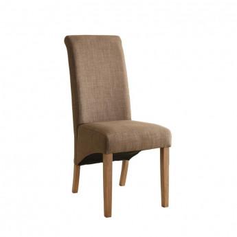 Chaise Cali bois de hêtre massif rembourrée marron clair