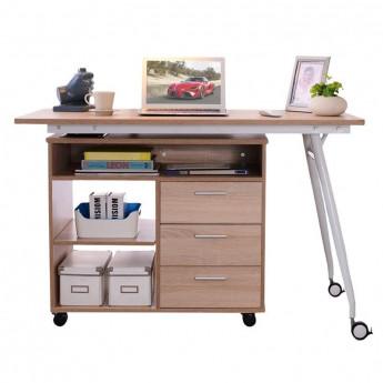 Bureau informatique 2-en-1 avec rangement coulissant en bois