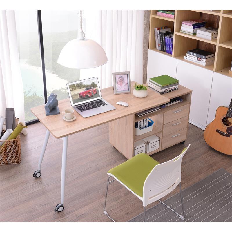 Bureau informatique 2 en 1 avec rangement coulissant en bois for Bureau coulissant adulte