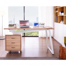 Bureau Informatique design avec tiroirs de rangement - couleur chêne