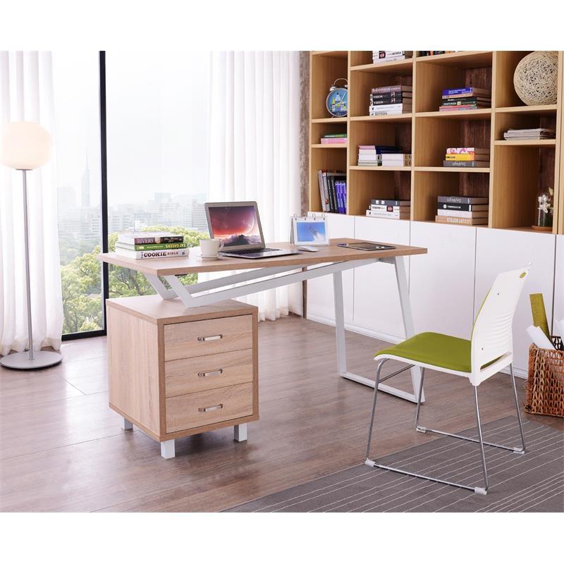 bureau informatique design avec tiroirs de rangement couleur ch ne. Black Bedroom Furniture Sets. Home Design Ideas