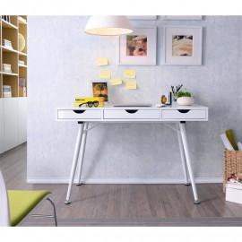 Bureau Informatique Zaza blanc brillant avec tiroirs
