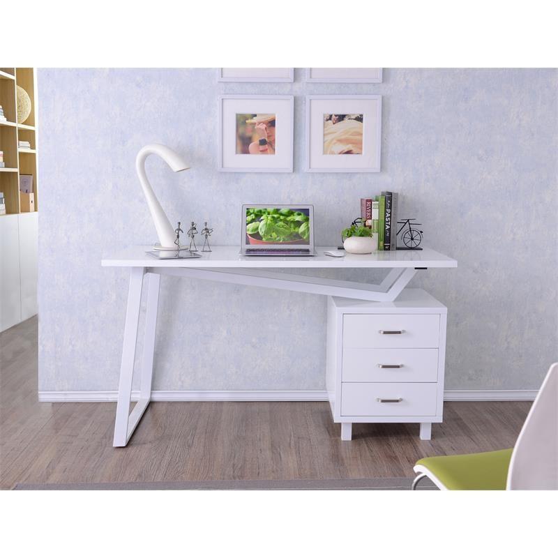 bureau informatique design blanc brillant. Black Bedroom Furniture Sets. Home Design Ideas