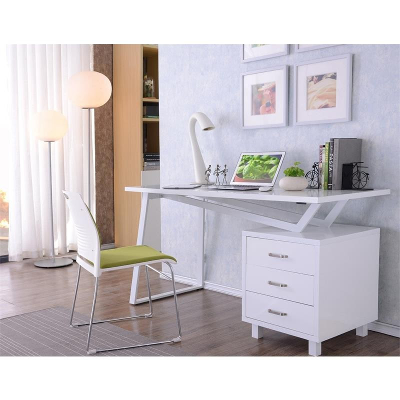 bureau informatique design blanc brillant. Black Bedroom Furniture Sets. Home Design Ideas