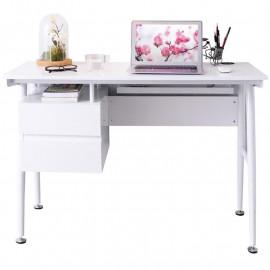 Bureau Informatique blanc brillant avec tiroirs