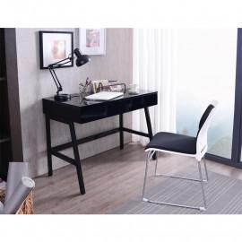 Bureau Informatique design noir brillant avec tiroirs