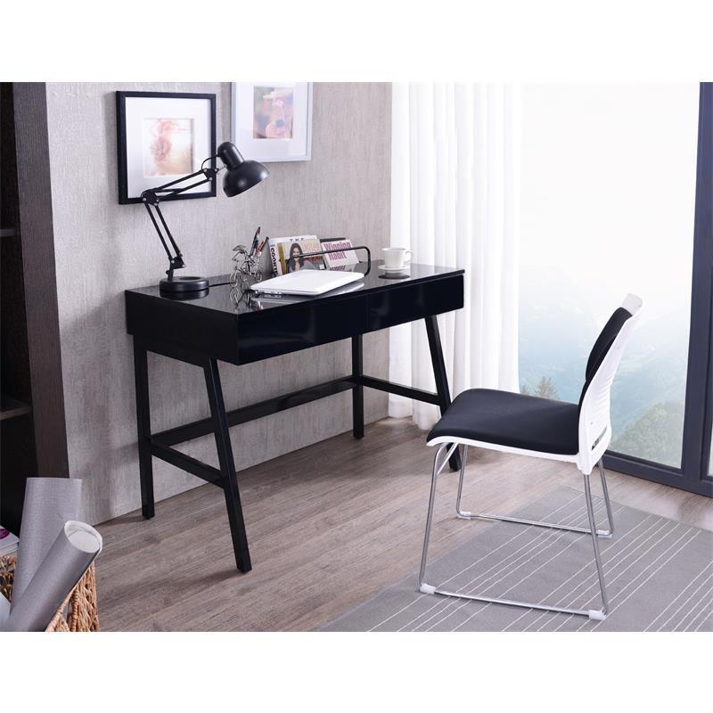 bureau informatique design noir brillant avec tiroirs. Black Bedroom Furniture Sets. Home Design Ideas
