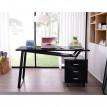 Bureau Informatique design noir brillant avec tiroirs de rangement
