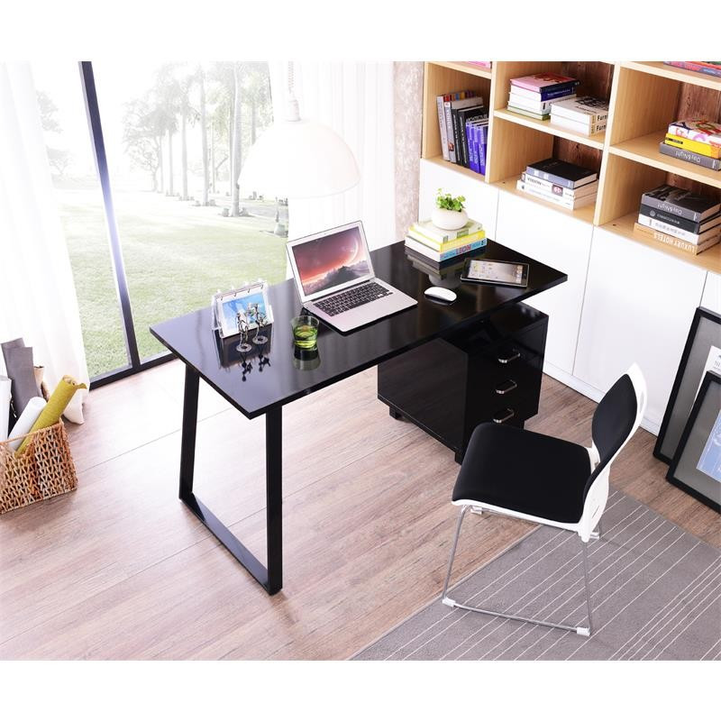 bureau informatique design noir brillant avec tiroirs de. Black Bedroom Furniture Sets. Home Design Ideas