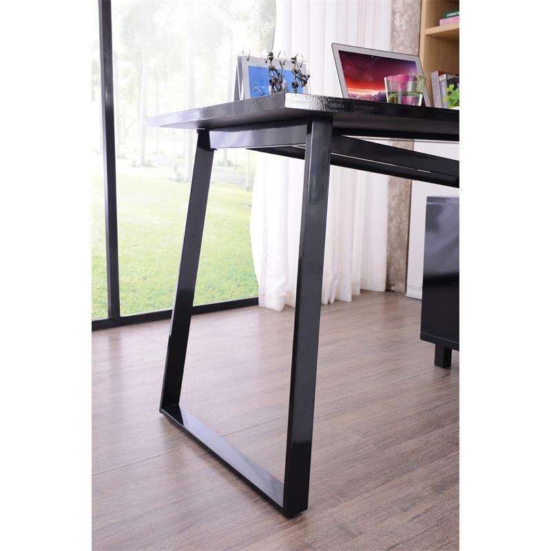 bureau informatique design noir brillant avec tiroirs de. Black Bedroom Furniture Sets. Home Design Ideas