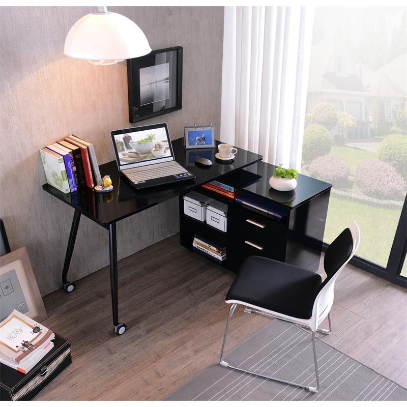 bureau informatique noir brillant avec rangement. Black Bedroom Furniture Sets. Home Design Ideas