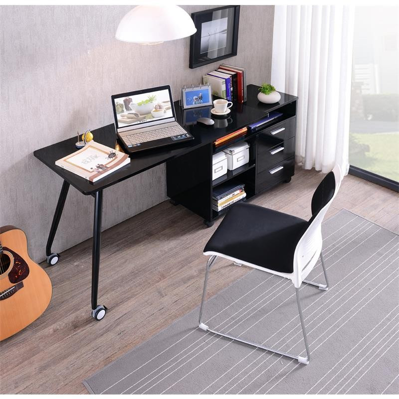 bureau informatique noir brillant avec rangement. Black Bedroom Furniture Sets. Home Design Ideas
