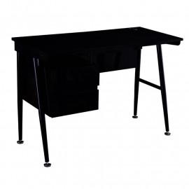 Bureau Informatique noir brillant avec tiroirs