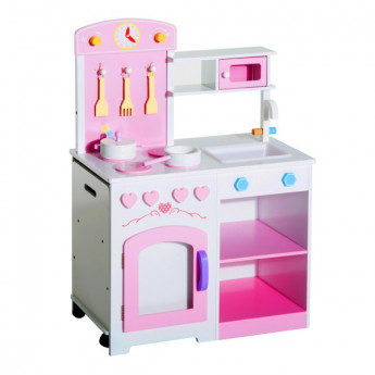Cuisine en bois Chantilly rose pour enfant