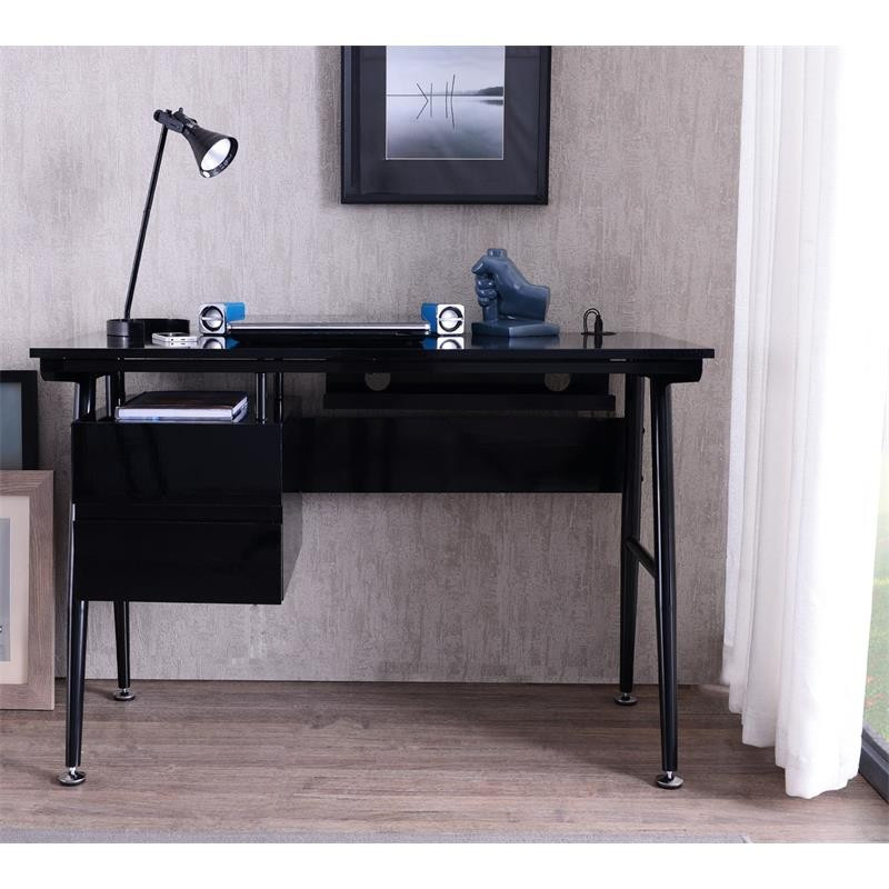 bureau informatique noir brillant avec tiroirs. Black Bedroom Furniture Sets. Home Design Ideas