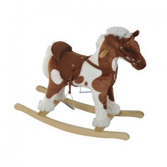 Cheval à bascule en bois Cabalo marron et beige